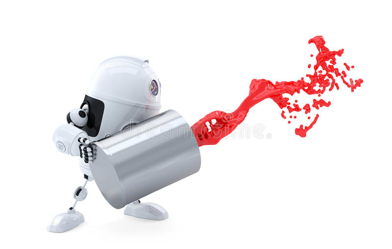 Робот андроида льет краску из чонсервной банкы. иллюстрация штока