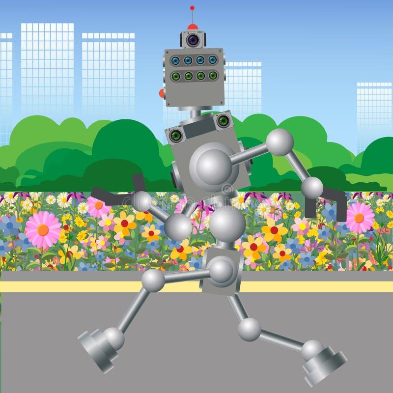Робот бежит Быстроподвижный механизм компьютера бесплатная иллюстрация