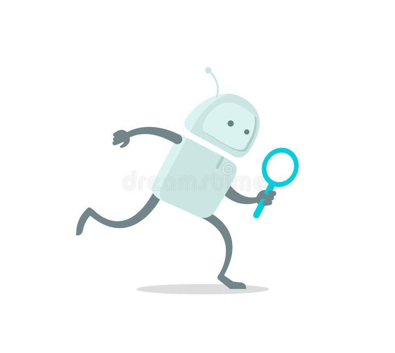 Робот бежит характер чужеземца с loupe увеличителя С поиском лупы Плоский запас иллюстрации вектора цвета бесплатная иллюстрация