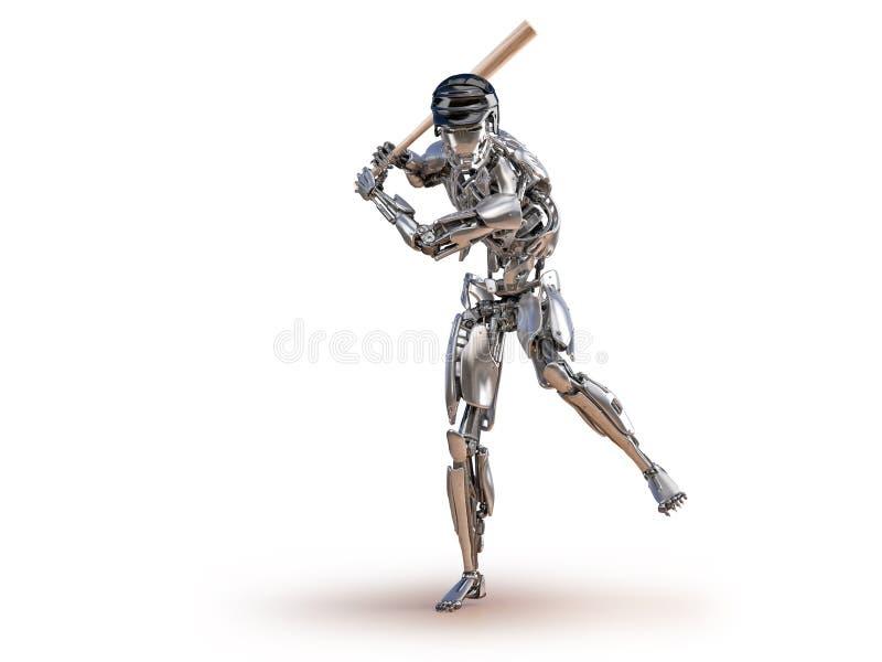 Робот бейсболиста Концепция интеграции человека и киборга робототехническая Робототехническая иллюстрация технологии 3D бесплатная иллюстрация