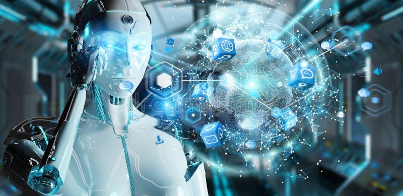 Робот белой женщины используя цифровой перевод интерфейса 3D экрана иллюстрация штока