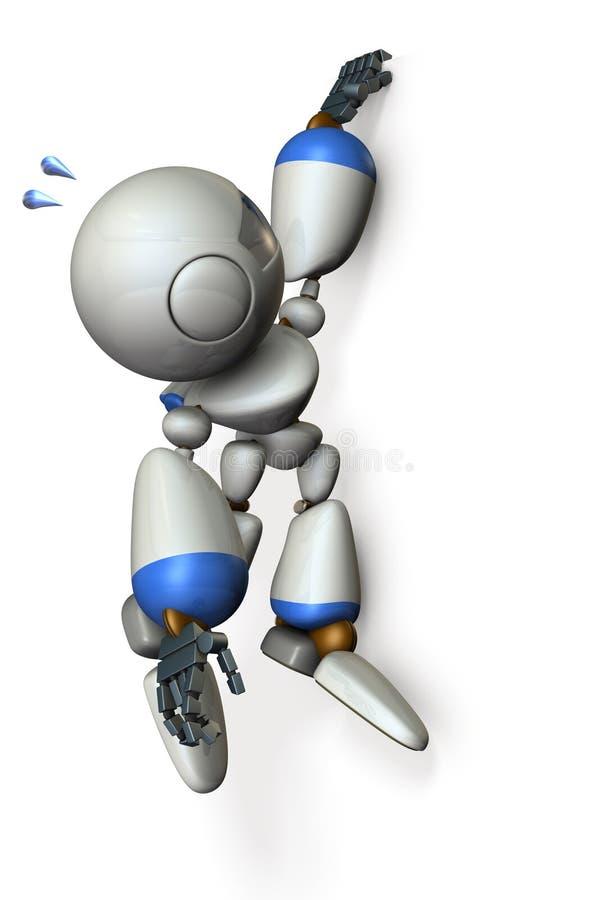 Робот висит при его пальцы вися на стене бесплатная иллюстрация