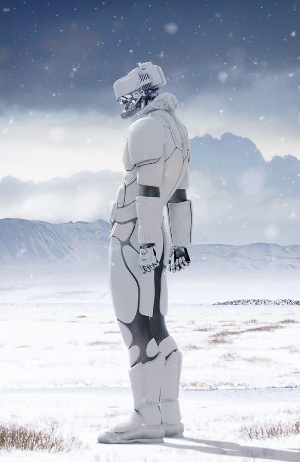 Робот в зиме иллюстрация вектора