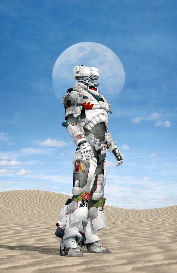 Робот в пустыне иллюстрация штока