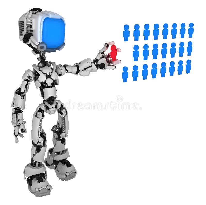 Робот в реальном маштабе времени экрана, база данных людей бесплатная иллюстрация