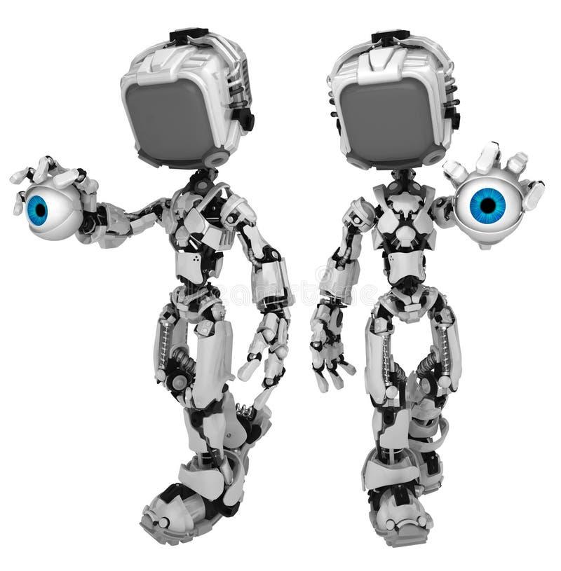 Робот в реальном маштабе времени экрана, держа глаз иллюстрация вектора