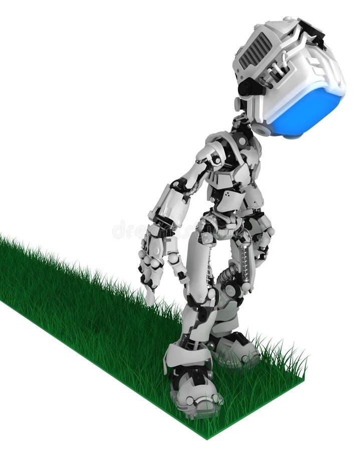 Робот в реальном маштабе времени экрана, конец дороги травы