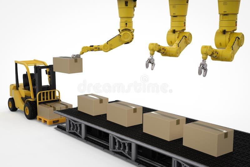 Робот в складе иллюстрация вектора