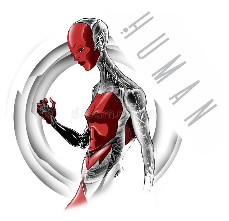 Робот в человеческой форме, искусственном интеллекте, киборге, механически форме жизни иллюстрация вектора