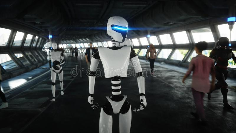 Робот в tonnel Sci fi Концепция будущего r иллюстрация штока