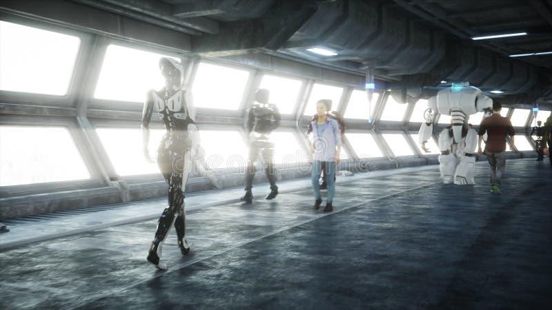 Робот в tonnel Sci fi Концепция будущего r бесплатная иллюстрация