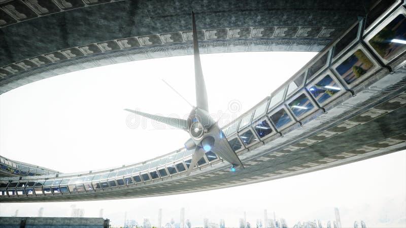 Робот в tonnel Sci fi Концепция будущего r r иллюстрация штока