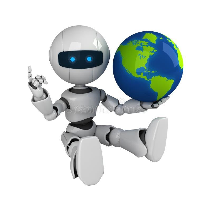 робот глобуса сидит белизна иллюстрация вектора