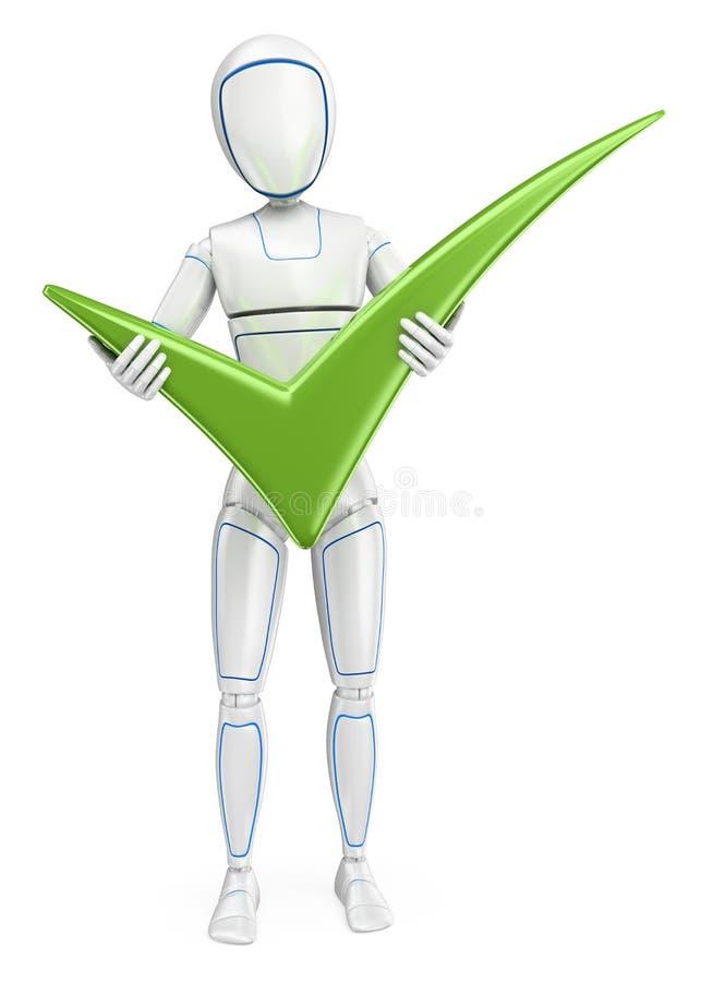 робот гуманоида 3D стоя с большим зеленым тиканием иллюстрация штока
