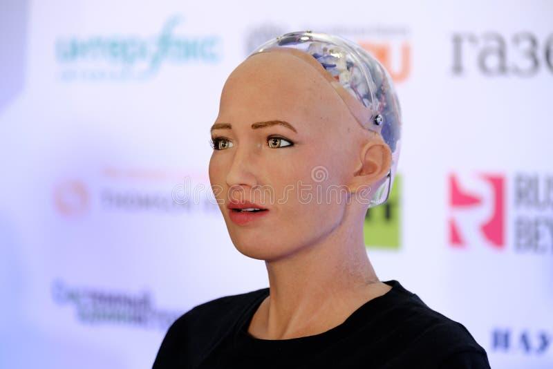 Робот гуманоида Sophia на конференции нововведений Open на technopark Skolokovo стоковое фото