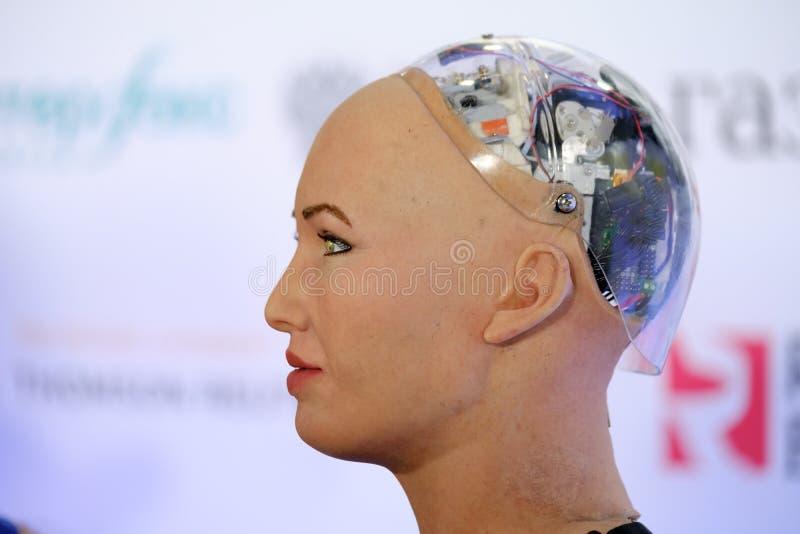 Робот гуманоида Sophia на конференции нововведений Open на technopark Skolokovo стоковое изображение rf