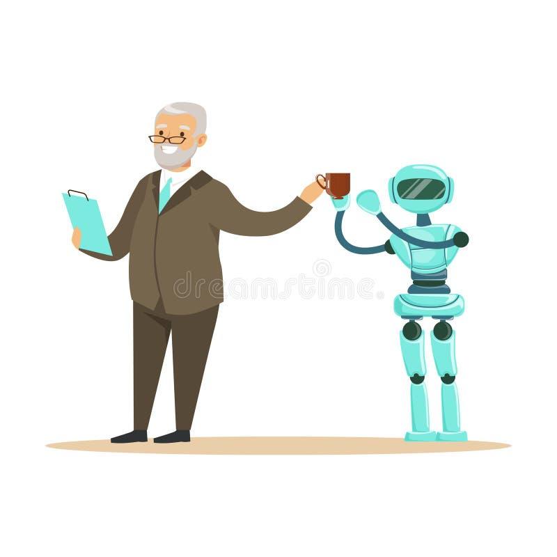 Робот гуманоида принося кофе для усмехаясь старшего человека, будущую иллюстрацию вектора концепции технологии иллюстрация штока