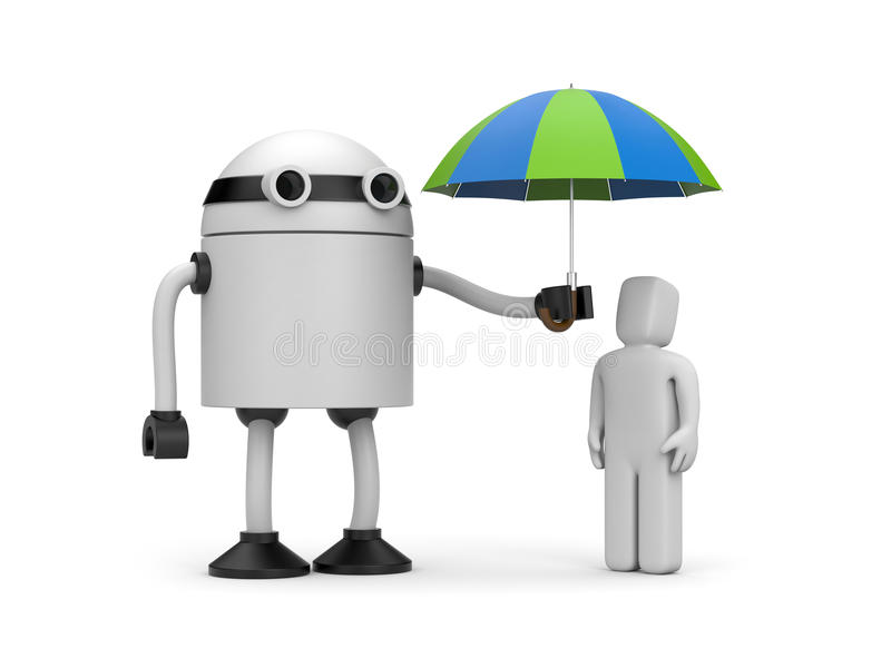 Робот держа зонтик над людьми 3d иллюстрация штока