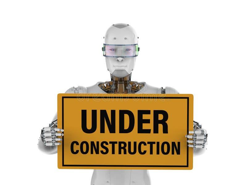 Робот держа под знаком конструкции иллюстрация вектора