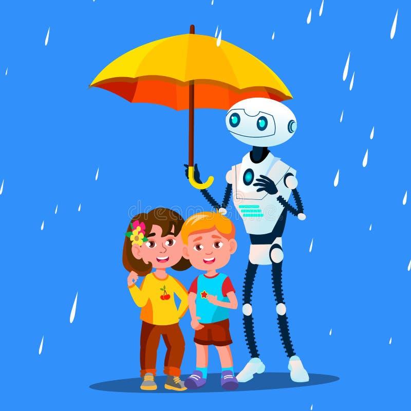 Робот держит открытый зонтик над маленьким ребенком во время вектора дождя изолированная иллюстрация руки кнопки нажимающ женщину иллюстрация штока
