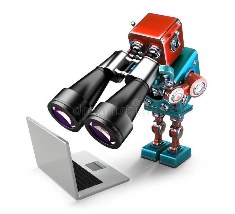 Робот держа бинокли и смотря компьтер-книжку изолированная принципиальная схема ищущ белизну изолировано Содержит путь клиппирова иллюстрация вектора