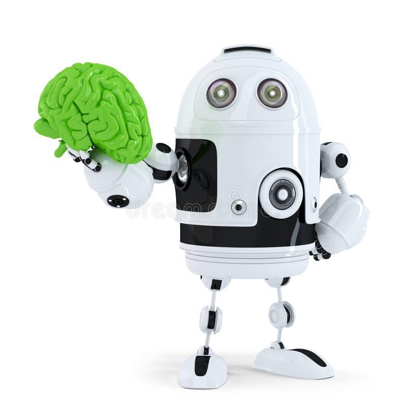 Робот держа зеленый мозг. Концепция технологии иллюстрация штока