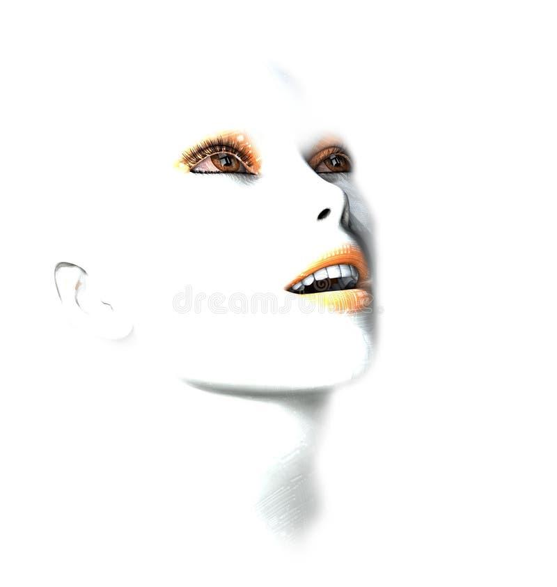 робот женщины стороны 3d стоковые фотографии rf