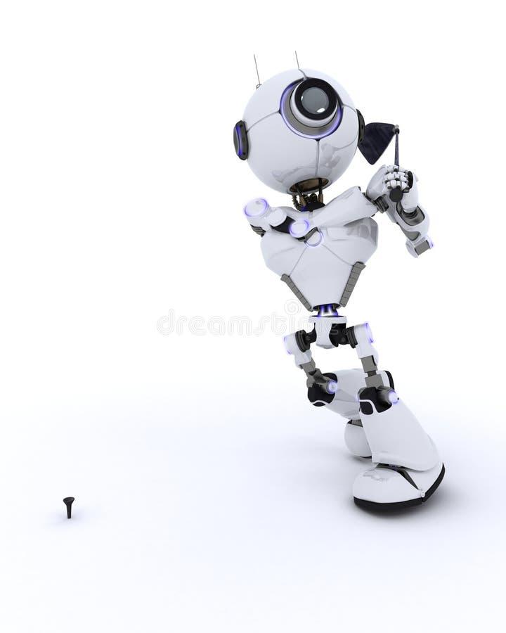 Робот играя гольф иллюстрация штока