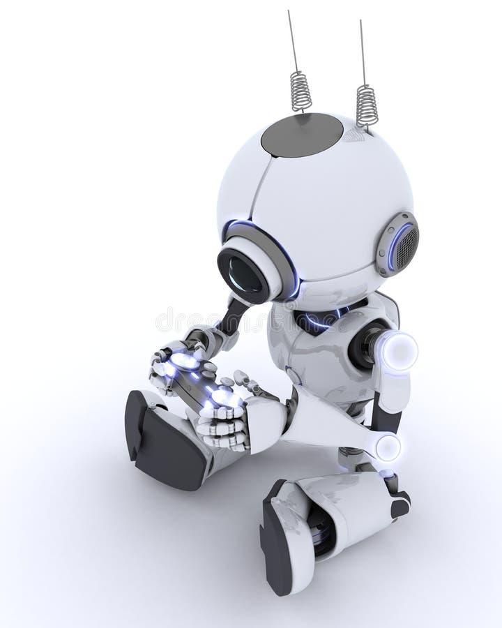 Робот играя компютерные игры бесплатная иллюстрация