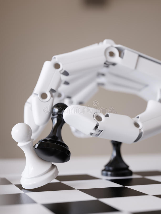 Робот играя концепцию искусственного интеллекта иллюстрации шахмат 3d стоковое изображение rf