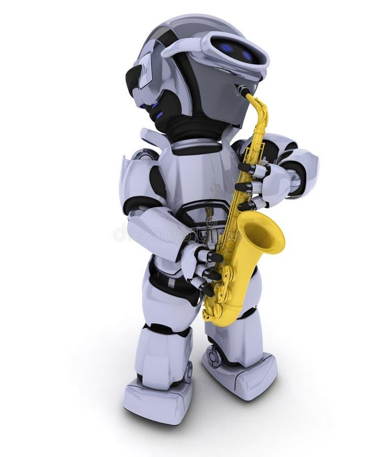 Робот играя саксофон иллюстрация штока