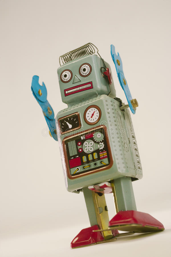 Робот игрушки сбора винограда стоковая фотография