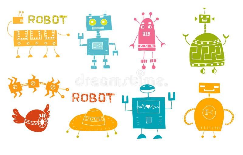 Робот игрушки установил - ретро вектор собрания роботов бесплатная иллюстрация