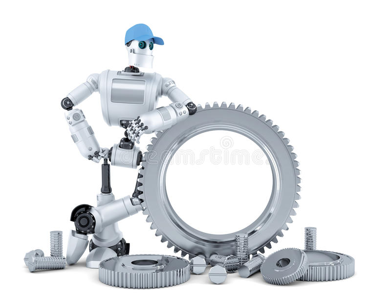 Робот инженера изолированная принципиальной схемой белизна технологии изолировано Содержит путь клиппирования иллюстрация штока