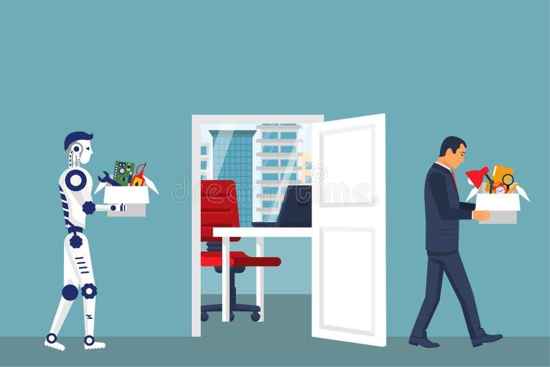 Робот искусственного интеллекта заменяет в работе человека бесплатная иллюстрация