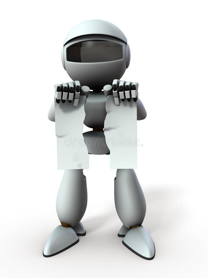 Робот искусственного интеллекта сломал документ Это представляет собой уничтожение контракта Белый фон 3D бесплатная иллюстрация
