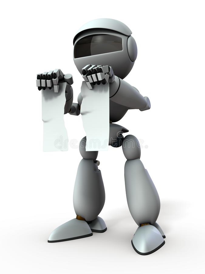 Робот искусственного интеллекта сломал документ иллюстрация штока