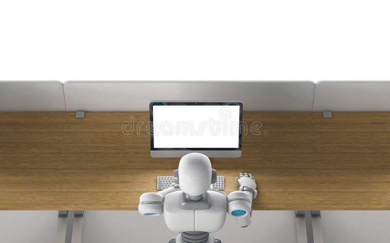 Робот используя компьютер с пустым экраном, глумится вверх, взгляд сверху бесплатная иллюстрация