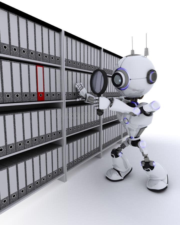 Робот ища документы иллюстрация вектора