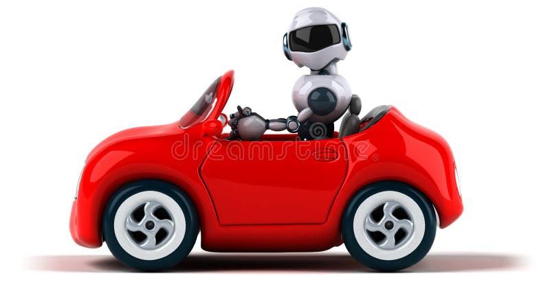 Робот и автомобиль иллюстрация штока