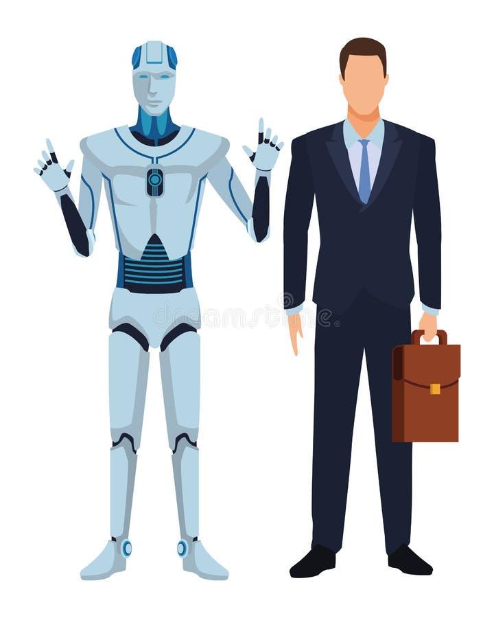 Робот и бизнесмен гуманоида иллюстрация вектора