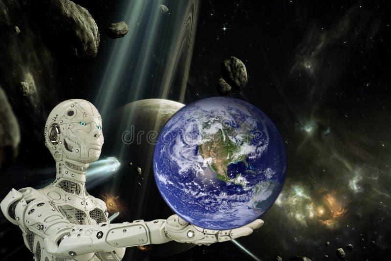 Робот и планета Земля бесплатная иллюстрация