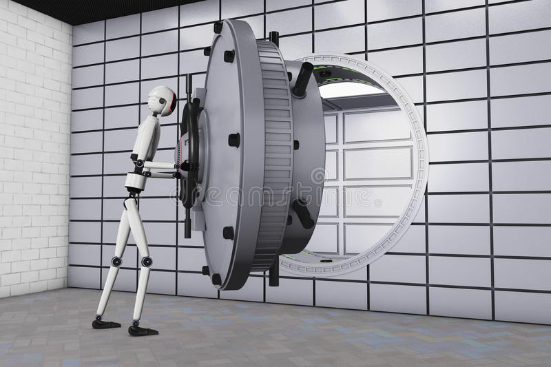 Робот и сейф банка иллюстрация вектора