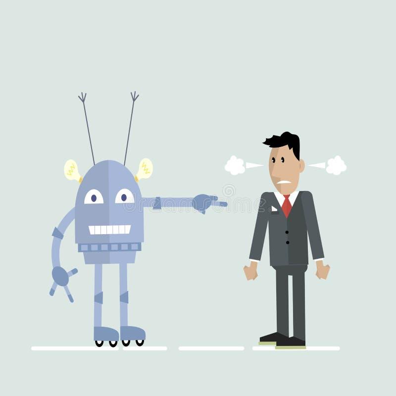Робот и человек в ссоре иллюстрация вектора