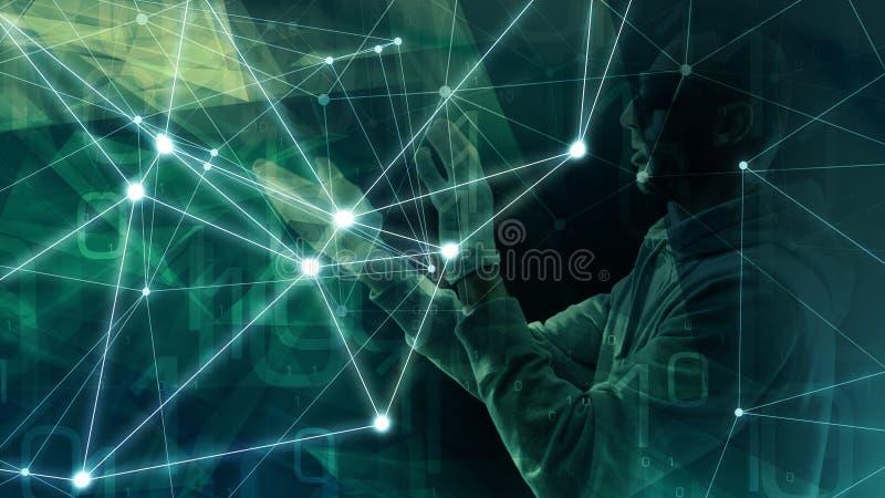 Робот кибернетического преступления с человеческим роботом с человеческим лицом рубя угрозы cybersecurity, будущую ошибку компьют иллюстрация штока