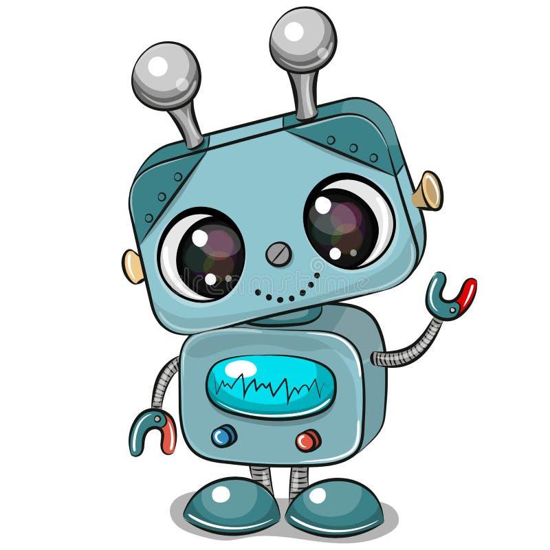 Робот мультфильма изолированный на белой предпосылке иллюстрация штока