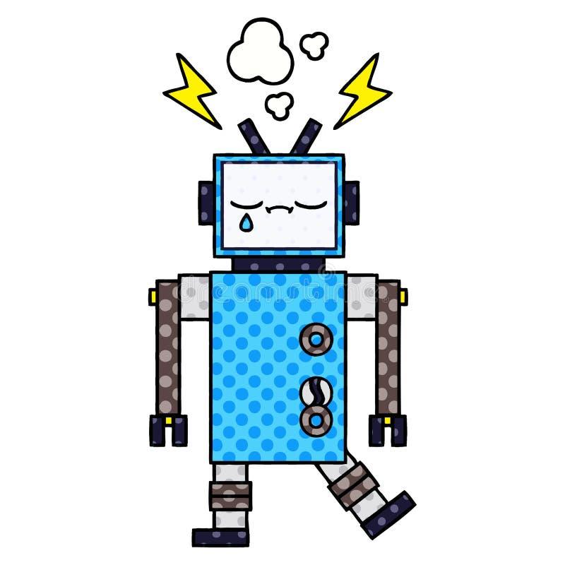 робот мультфильма стиля комика иллюстрация вектора