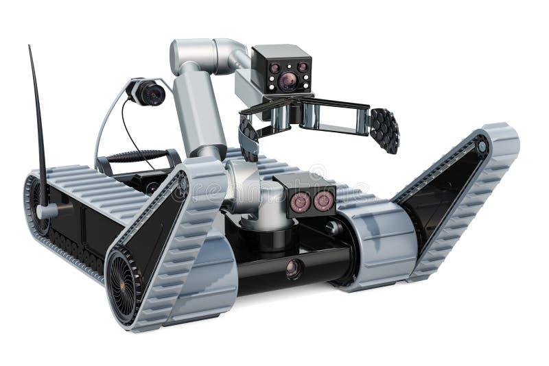 Робот обезвреживания неразорвавшихся бомб, перевод 3D иллюстрация штока
