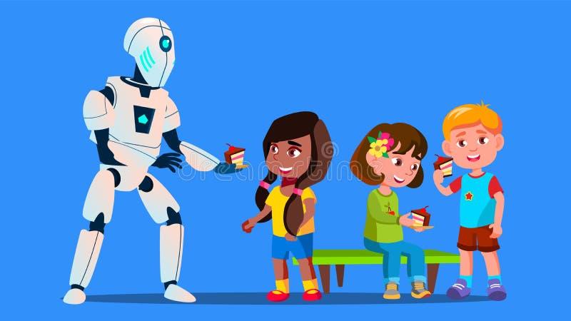 Робот обрабатывает детей к вектору тортов изолированная иллюстрация руки кнопки нажимающ женщину старта s иллюстрация вектора
