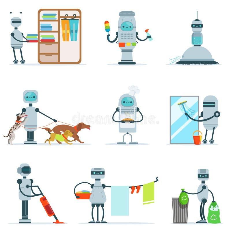 Робот домочадца домоустройства делая домашнюю уборку и другие обязанности установленные футуристической иллюстрации с андроидом х бесплатная иллюстрация